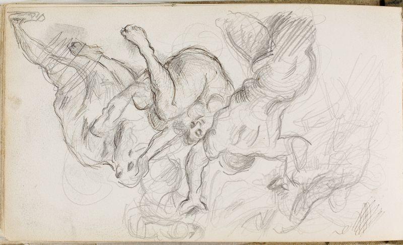 Scène de violence: hommes se précipitant sur une femme, 1870–73 (3006-46b)