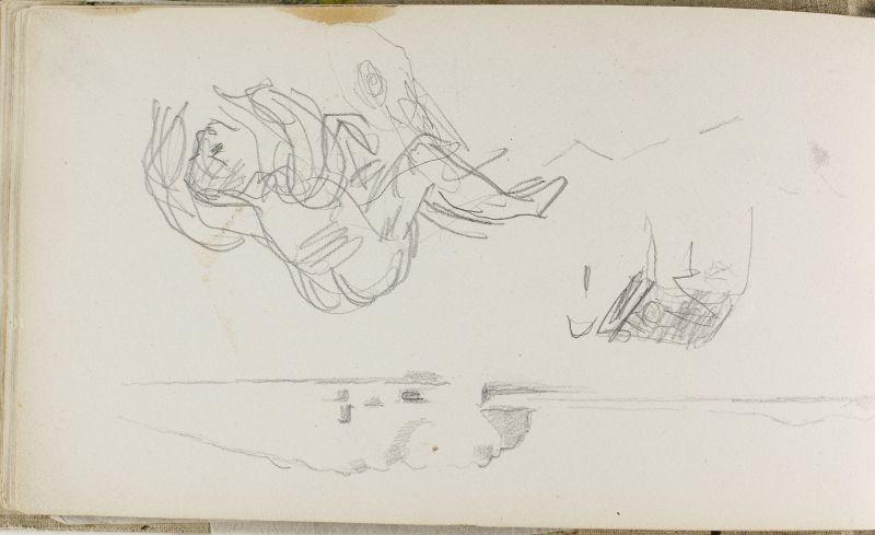 Paysage et homme à quatre pattes, n.d. (3006-13b)