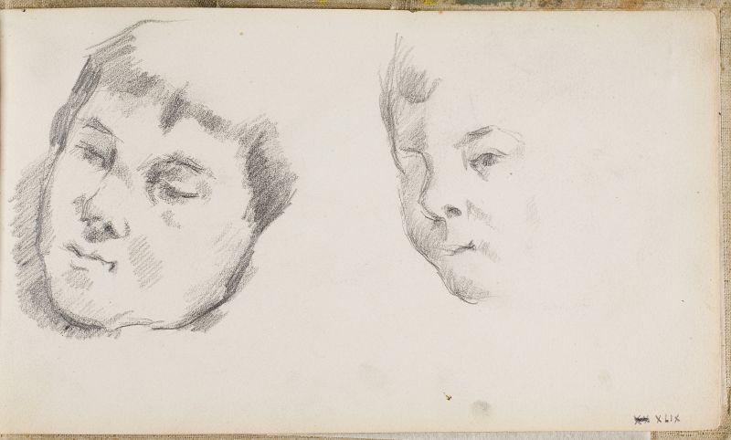 Deux esquisses de la tête du fils, c.1881 (3006-49a)