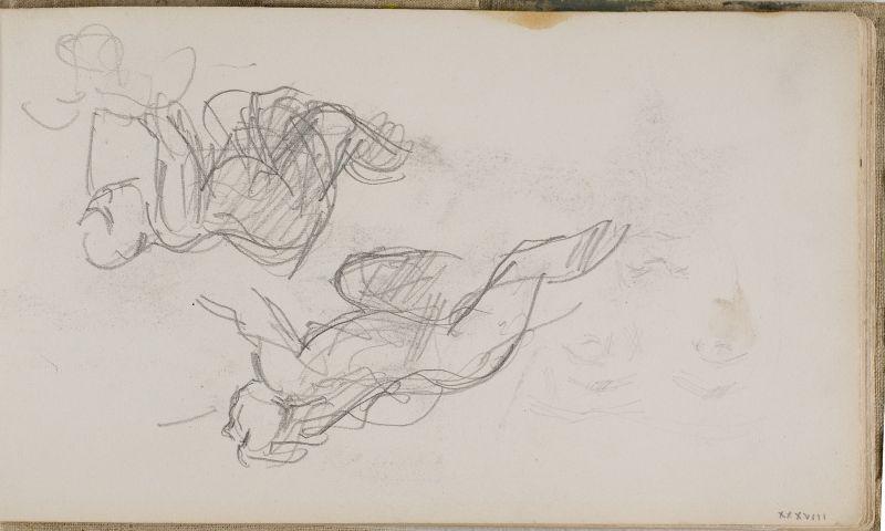 Deux esquisses d'homme à quatre pattes, 1870–73 (3006-38a)