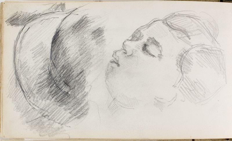Le Fils de l'artiste endormi et étude de chapeau, c.1880 (3006-47b)