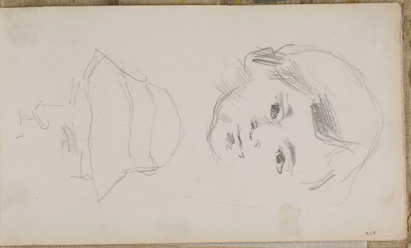 Le Fils de l'artiste et tête d'homme au chapeau, 1876, 1878 (3006-45a)