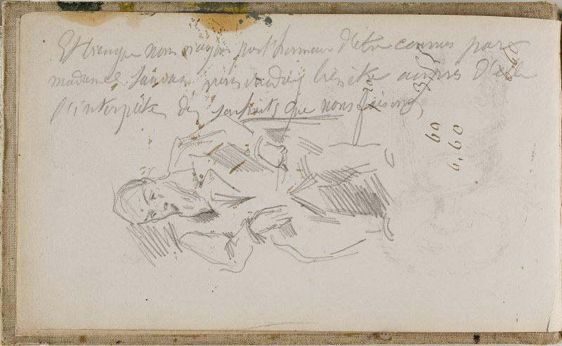 Esquisse d'homme assis et écriture, 1874–77 (3006-01b)