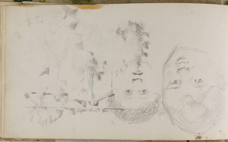 Tête de garçon et paysage; gribouillage du fils de l'artiste, 1877–78 (3006-16b)