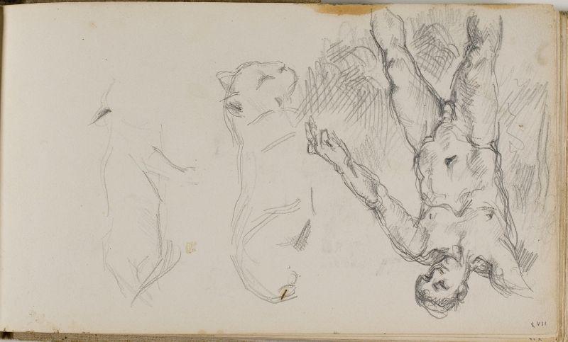 Baigneur et esquisses de chat, 1874–77 (3006-17a)