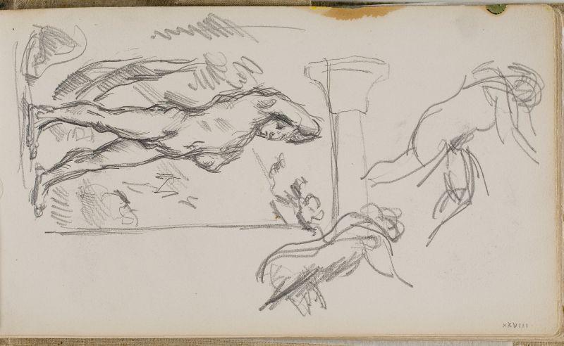 Baigneur debout et diverses esquisses, 1875–80 (3006-28a)