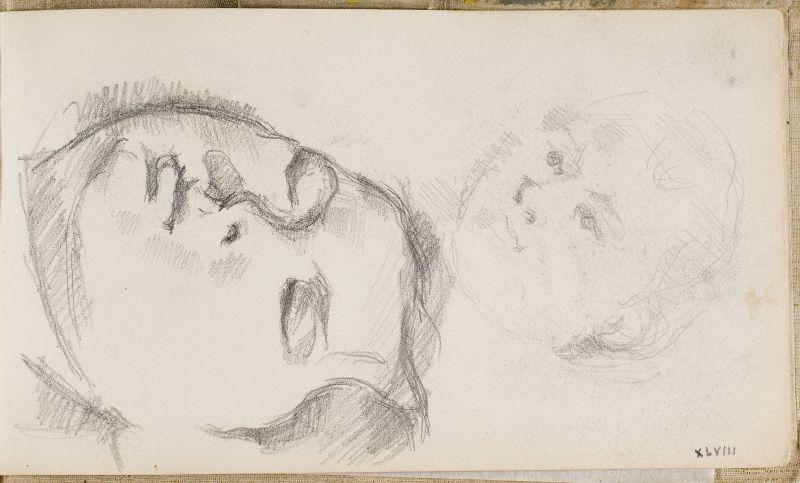 Deux esquisses de la tête du fils de l'artiste, head at right, 1883–84; head at left, 1878–79 (3006-48a)