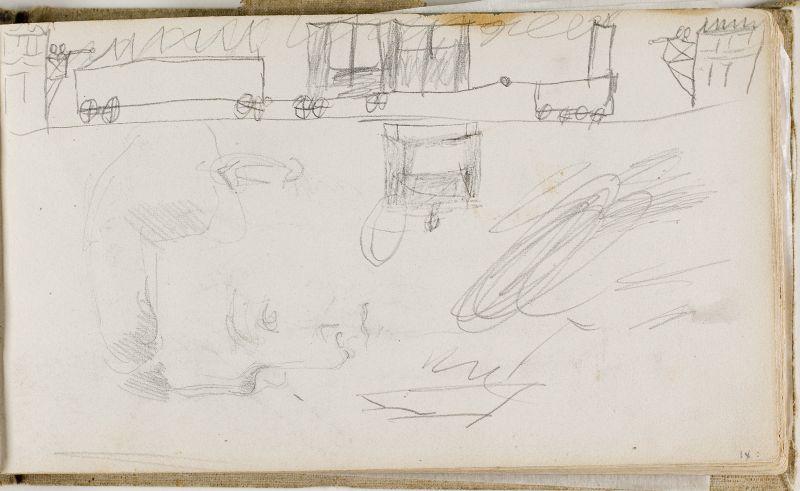 Tête de jeune homme (et gribouillages d'enfant), 1874–77 (3006-09a)