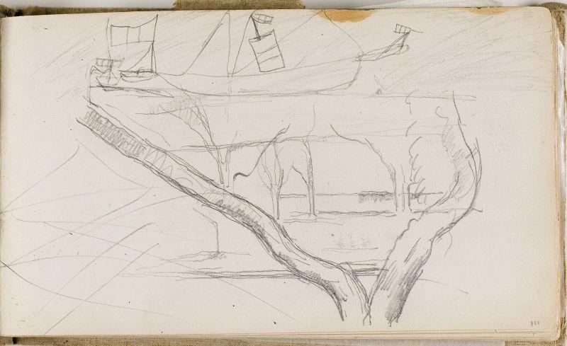 Arbres et mur au Jas de Bouffan, c.1874 (3006-03a)