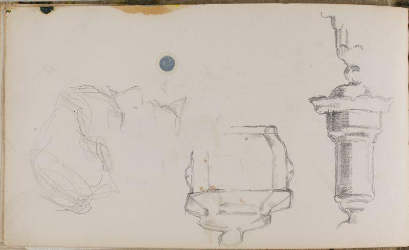 Pied de lampe, sucrier et profil de femme, 1874–77 (3006-27b)