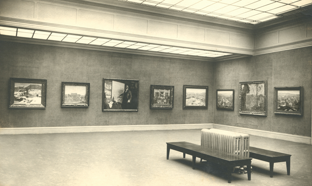 <i>Canal in Winter</i> and <i>Morning on the Marshes</i> installed at the Art Institute of Chicago annual, 1917-18.