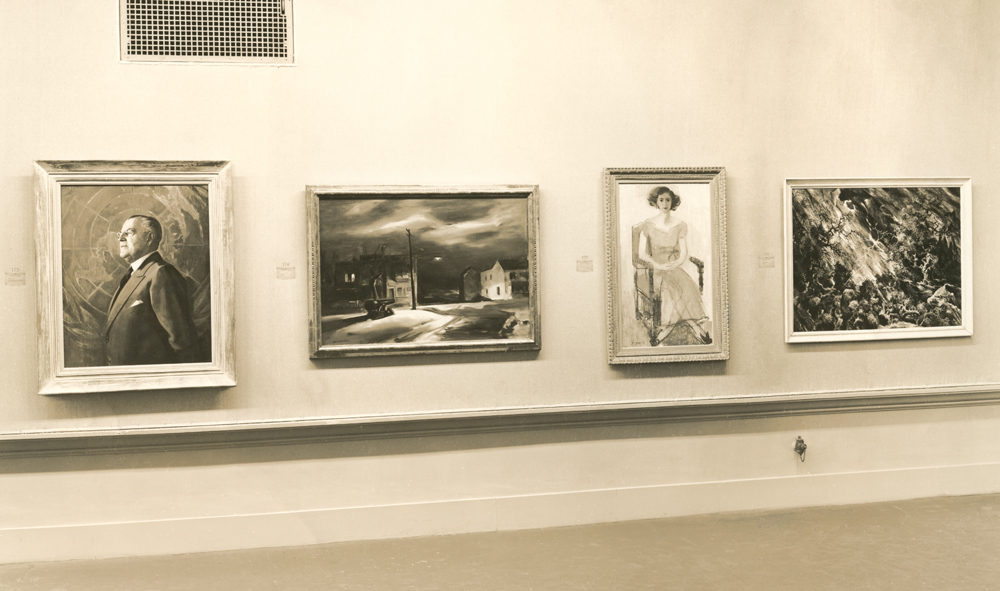 <i>Night</i> (center left), installed in the gallery.